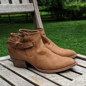 Dolce Vita Side Zip Brown Leather Ankle Booties